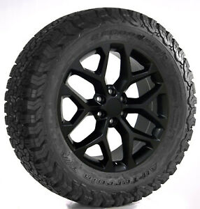 Gmc 20 Satin Black Snowflake Wheels Bfg Tires 2000 18 Sierra Yukon Denali