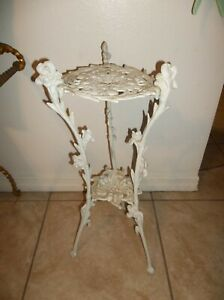 Vintage White Painted Iron Metal Plant Stand 2 Tier 26 Tall Flower