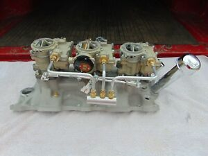 Chevy V 8 Tripower Intake With Carbs For 265 283 327 350 400 Motors