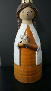 Mid Century Woman W Flowers Sculptural Vase Pottery 10 5