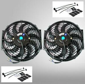2 12 Inch Black Universal Electric Radiator Slim Fan Push Pull 12v Mounting Kit