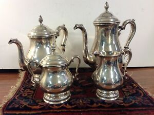 International Sterling Prelude 4pc Coffee Tea Pot Sugar Creamer Set 63 8 Ozt
