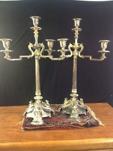Silver Plated Magnificent Candelabra With 3 Arms Center Candle Pair
