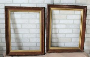 2 Antique Carved Adirondack Walnut Picture Frames Gilt Liners 16x20 Fit