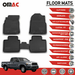 Floor Mats Liner 3d Molded Black Fits For Toyota Tacoma Double Cab 2005 2015