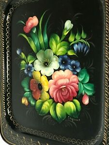 Vintage Tole Ware Black Rectangular Tin Serving Tray Floral Hand Painted Signed