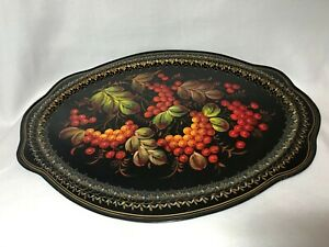 Vintage Tole Ware Large Black Oval Tin Serving Tray Red Berries Hand Painted