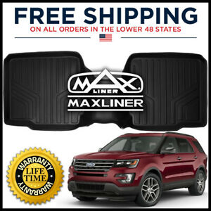 Maxliner 2011 2019 Ford Explorer 2nd Row W Console Floor Mat Liner Black