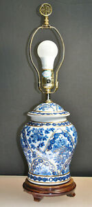 Vintage Hand Painted Oriental Asian Porelain Ginger Jar Lamp With Gold Gilding