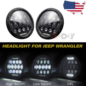 Pair 7 Inch Round Led Headlights 300w Angle Eyes For Jeep Wrangler Jk Lj Tj Cj