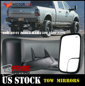Left Right Power Heated Tow Mirrors1998 2001 For Dodge Ram 1500 2500 3500