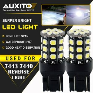 2x Auxito 7443 7440 Brake Tail Turn Signal Back Up Reverse Light Bulb White Eoa