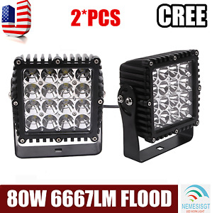 2x 5inch 80w Square Led Work Light Pods Quad Row Flood Beam For Jeep Atv Offroad