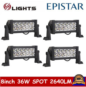 4x 8inch 36w Led Work Light Bar Spot Offroad Truck Atv Ute 4wd For Jeep Philips