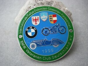 Vintage German International Rallye Dolomiten 1999 Bmw Veteranen Club Car Badge