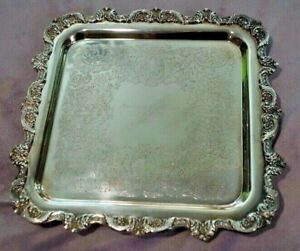 Poole Silver Co Silverplate Square Footed Tray 12 X12 Antique Engraved