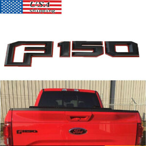 Tailgate Mounted Red Black F150 Emblem Nameplate For Ford Pickup Truck New