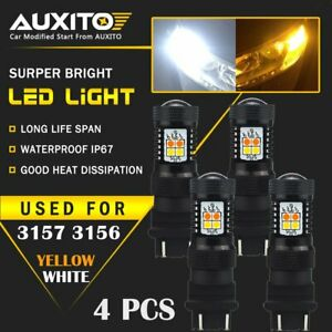 4x Auxito 3157 3156 Led Switchback White Yellow Amber Turn Signal Light Bulb 16k