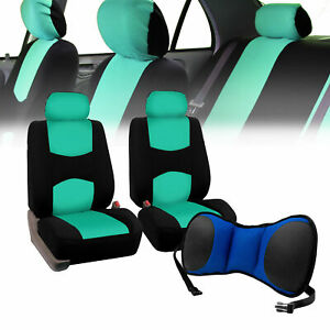 Front Bucket Seat Covers Mint With Seat Back Cushion Pad Blue For Auto Car Suv