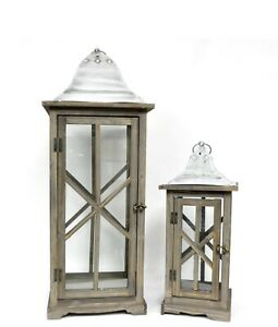 Lantern Antique Stained 2pc Set 28 And 18 Tall