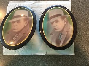 2 Antique Small Metal Oval Victorian Picture Frame Photo Of A Man 8 X 6