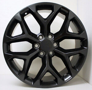 Chevy 20 Satin Black Snowflake Wheels For 2000 18 Silverado Tahoe Suburban