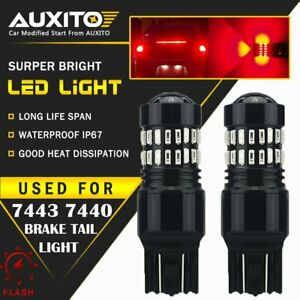 7443 Led Strobe Flashing Blinking Brake Tail Light Parking Safety Warning Bulbs