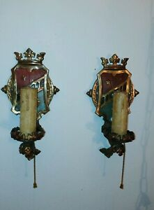 Vintage Pair Of Gothic Crown Art Deco Copper Metal Wall Sconces Lincoln Mfg Co