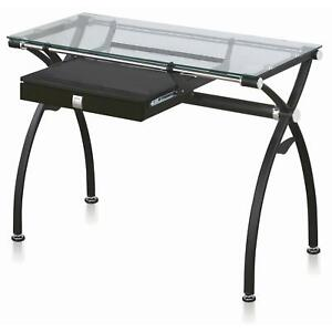 Black Metal Glass Office Desk