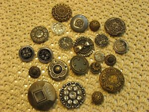 Antique 22 Victorian Sewing Buttons Lot Different Styles Patterns Sizes Old