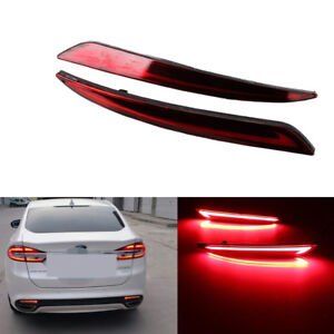 2x Led Rear Bumper Reflector Brake Tail Light Lamps Fit 14 18 Ford Fusion Mondeo