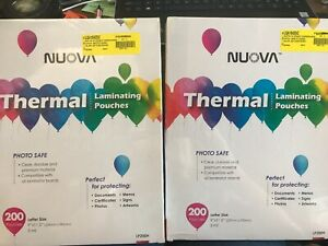 Lot 2 Pack Nuova Premium Thermal Laminating Pouches 9 X 11 5 letter Size 3 Mil