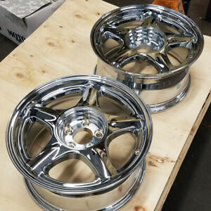 2 17 Sve Chrome Pony Style Wheels 2 17x8 5x114 3 79 93 Mustang Blems