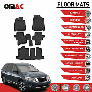 Floor Mats Liner 3d Molded Black Fits Nissan Pathfinder 2014 2020