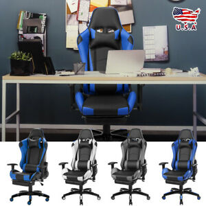 Office Gaming Chair Racing Recliner Bucket Seat Computer Desk Footrest Us New