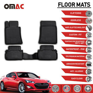 Floor Mats Liner 3d Molded Fit Black For Hyundai Genesis Coupe 2010 2016