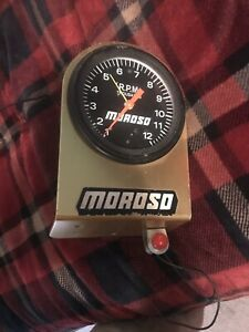 Vintage Accutronic Mechanical Tach Gold Moroso Bracket Gasser Drag Race
