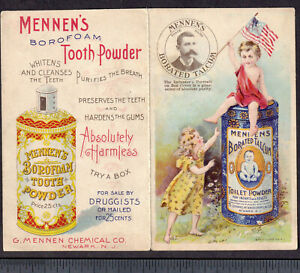 Scarce Version Tooth Powder Mennens Talcum Before After 1898 Inventor Trade Card
