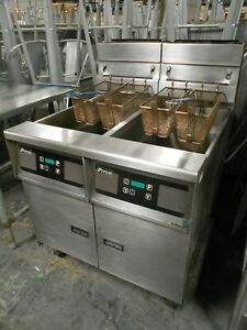 used Pitco Frialator Sg14 js Natural Gas Double Deep Fryer With Filtration