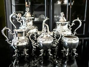 Vintage Silver Plate Tea Set Coffee Service Grapes Birmingham Silver Co Bsc