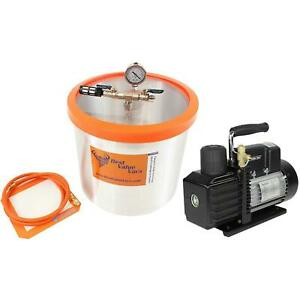 Bvv 5 Gallon Aluminum Vacuum Chamber Ve225 4cfm 2 stage Vacuum Pump Kit