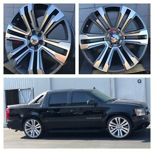 26 Inch Silverado Wheels Grey Machine Tires Denali Tahoe Yukon Xl Avalanche