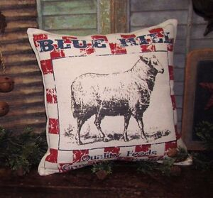 Primitiv Antique Vtg Style Sheep Lamb Grain Feed Sack 16 Pillow Mother Day Gift