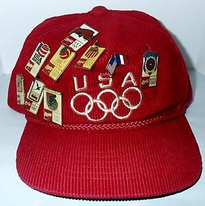 Trucker Corduroy Hat Coca Cola Olympics Team USA Red Cap 10 Pins Baseball Diving