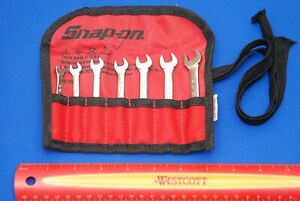 New Snap on 7 Piece 12 point Midget Sae Combo Wrench Set Oxi707bk Ships Free