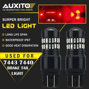 Auxito 7443 7444na Red Led Brake Tail Stop Light Safety Parking Warning Bulbs Ea