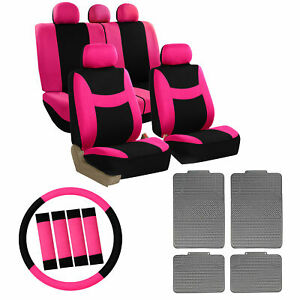 Pink Full Car Seat Covers Set For Auto W steeringl belt Pad rubber Floor Mats
