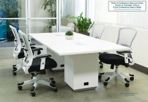 8 Ft Foot Modern Conference Table With Power And Usb Built In Gray Or Espresso