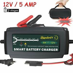 Lst 12v 5a Automatic Battery Charger Maintainer Smart Portable Deep Cycle Tri