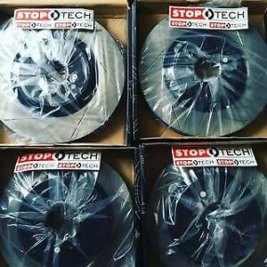 Stoptech Package Slotted Rotors And Stoptech Pads Fits Subaru Sti W Brembo